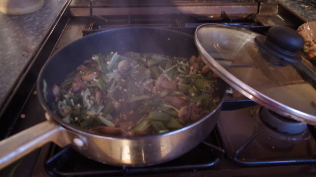 add some water and put lid on pan, cook on low heat