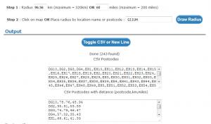 create postcode list in freemaptools